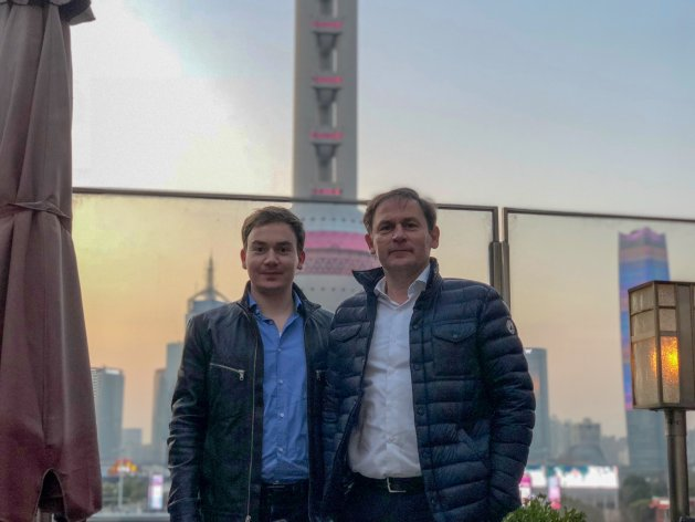 Jos and his son Xavier together in Shanghai, China