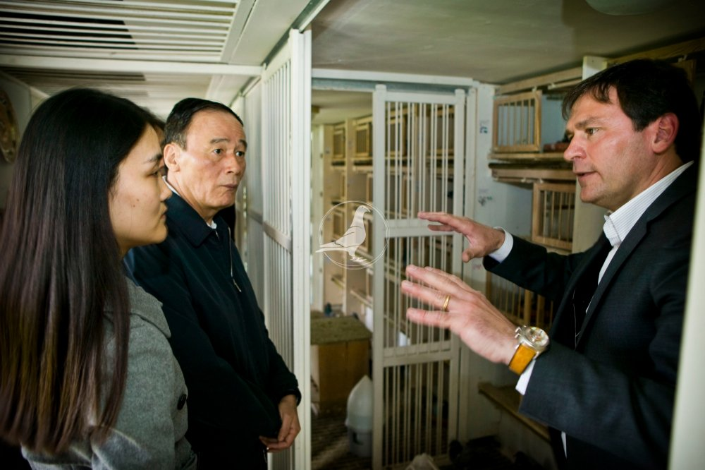 Jos Thoné shows vice-president Wang Qishan one of his breeders